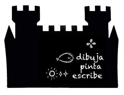 Pizarra negra para tiza con la forma de castillo