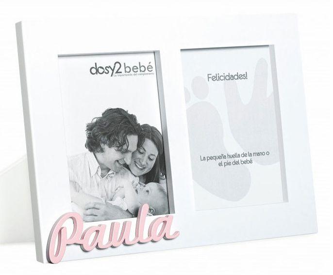 Portafotos doble, con espacio para la huella del bebé y personalizado con le nombre