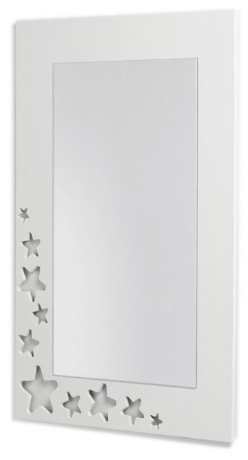 Espejo infantil rectangular de estrellas blanco