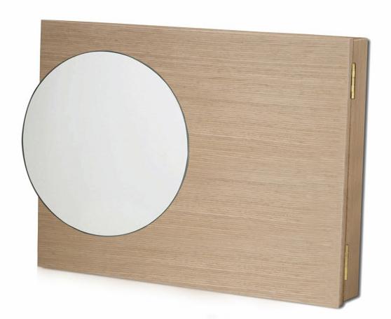 Tapacontador acabado en madera natural con espejo redondo